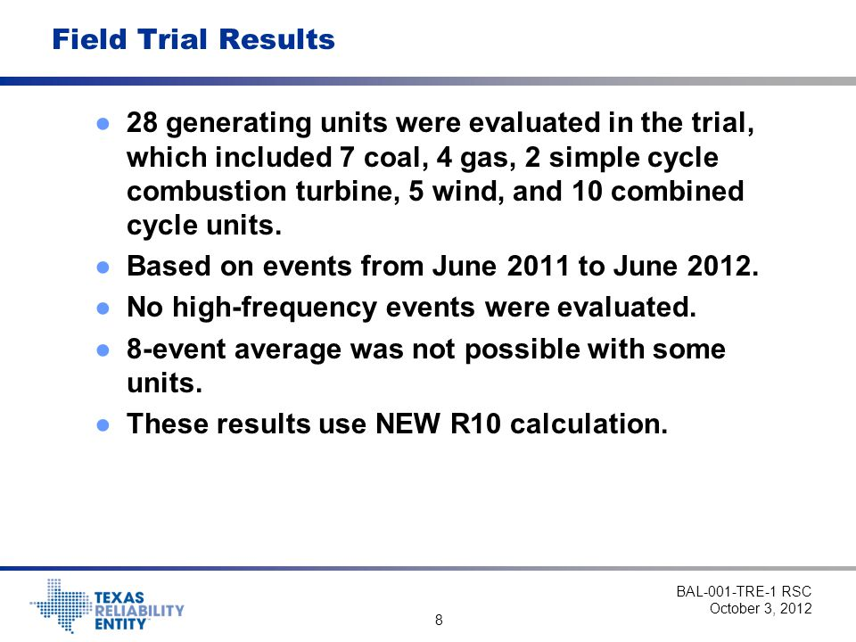 19 R10: Sustained Response Performance - Steam Turbine BAL-001-TRE-1 RSC October 3, 2012