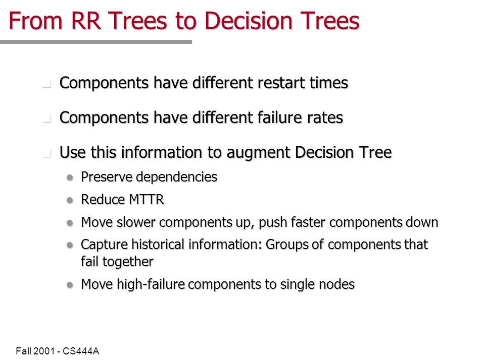 Fall 2001 - CS444A Restructuring helps! n Sample Restart times for different components