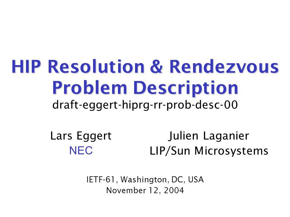 November 12, 2004draft-eggert-hiprg-rr-prob-desc-0012 Next Steps  would like more group feedback.