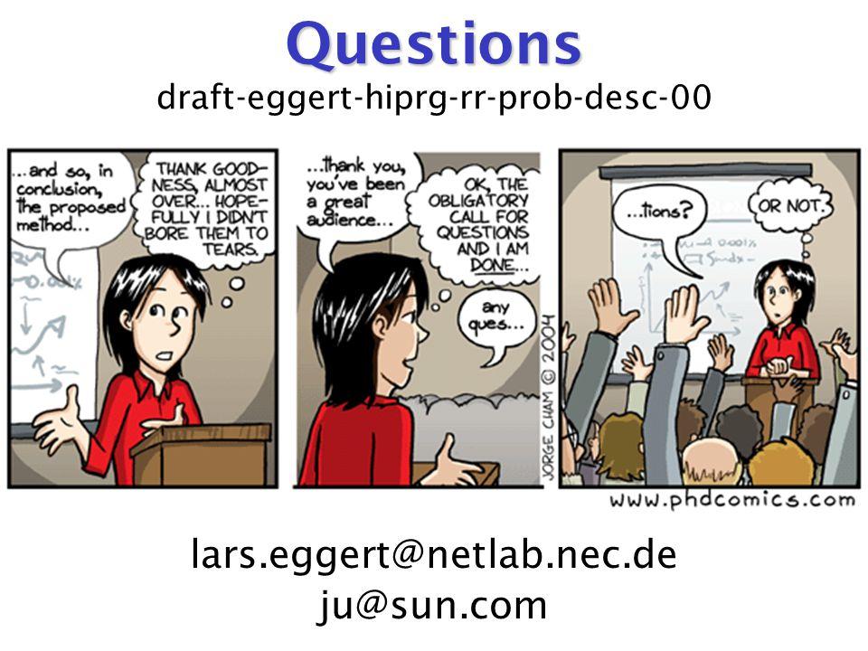 Questions Questions draft-eggert-hiprg-rr-prob-desc-00 lars.eggert@netlab.nec.de ju@sun.com
