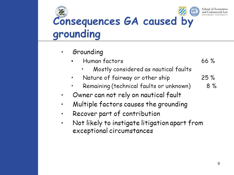 6 Consequences GA caused by grounding Grounding Human factors66 % Mostly considered as nautical faults Nature of fairway or other ship 25 % Remaining (technical faults or unknown) 8 % Owner can not rely on nautical fault Multiple factors causes the grounding Recover part of contribution Not likely to instigate litigation apart from exceptional circumstances