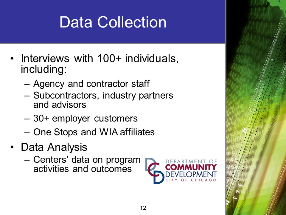 12 Data Collection Interviews with 100+ individuals, including: –Agency and contractor staff –Subcontractors, industry partners and advisors –30+ employer customers –One Stops and WIA affiliates Data Analysis –Centers' data on program activities and outcomes