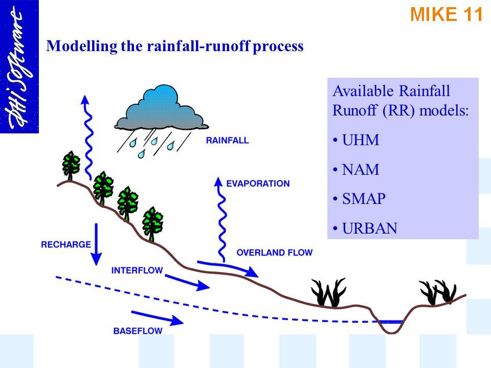 Modelling the rainfall-runoff process Available Rainfall Runoff (RR) models: UHM NAM SMAP URBAN