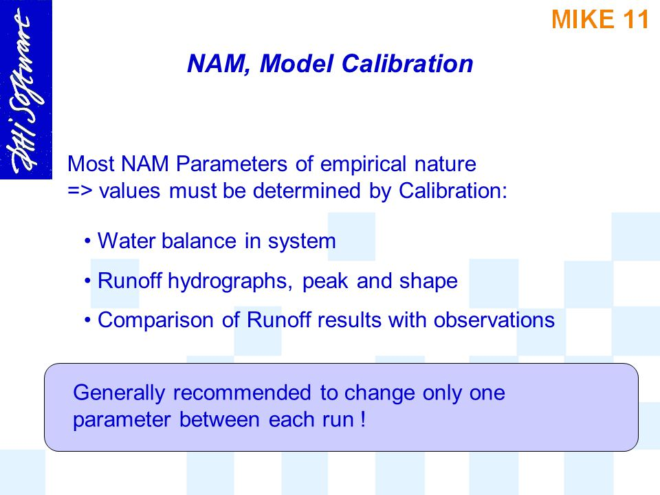 NAM, Model Calibration 1.Manual Step-by-step procedure (changing one variable at a time) 2.