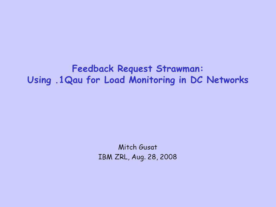 Feedback Request Strawman: Using.1Qau for Load Monitoring in DC Networks Mitch Gusat IBM ZRL, Aug. 28, 2008