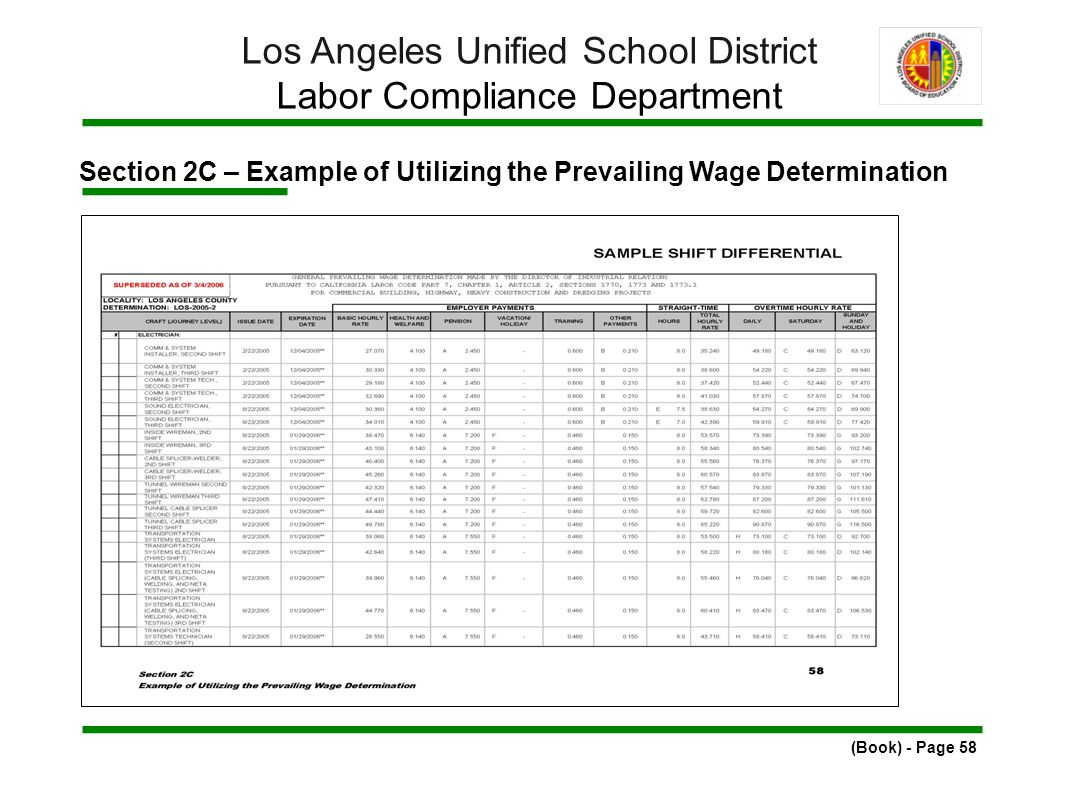 Section 2C – Example of Utilizing the Prevailing Wage Determination (Book) - Page 58 Los Angeles Unified School District Labor Compliance Department
