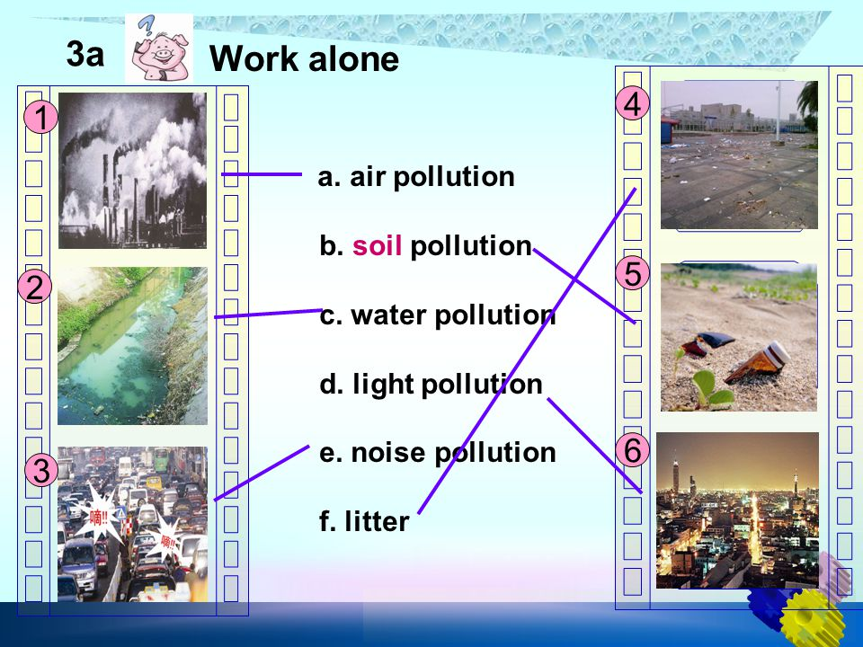 a. air pollution b. soil pollution c. water pollution d. light pollution e. noise pollution f. litter 3a Work alone 1 2 3 4 5 6