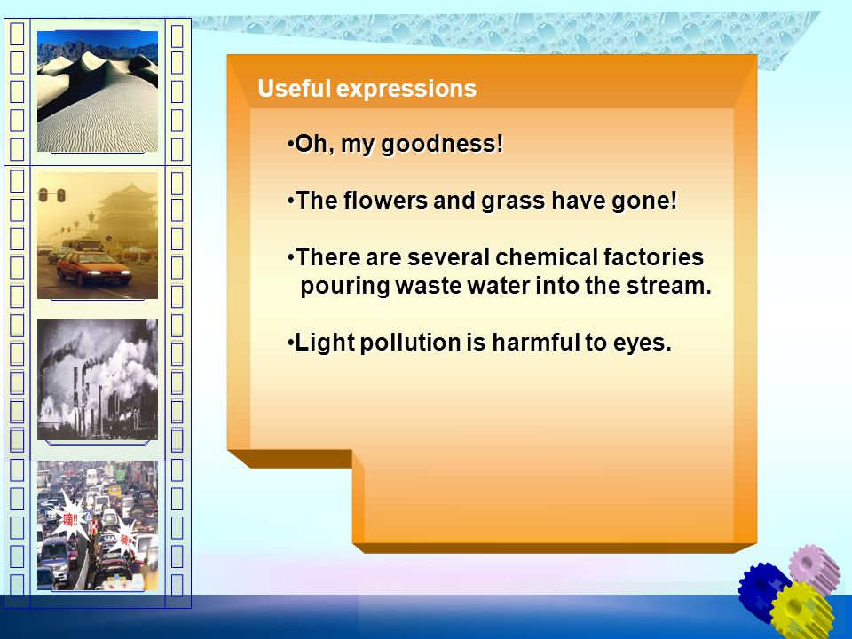 Useful expressions Oh, my goodness!Oh, my goodness! The flowers and grass have gone!The flowers and grass have gone! There are several chemical factor