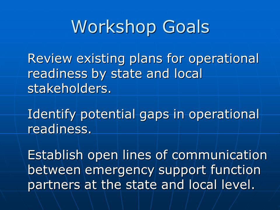 Workshop Goals Review existing plans for operational readiness by state and local stakeholders.