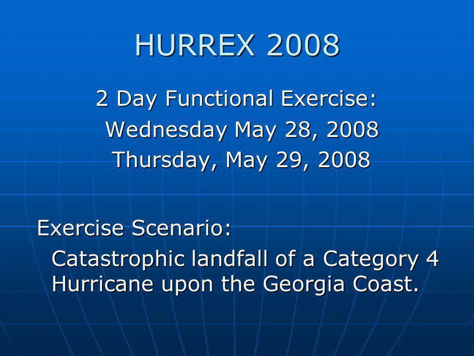 HURREX 2008 2 Day Functional Exercise: 2 Day Functional Exercise: Wednesday May 28, 2008 Wednesday May 28, 2008 Thursday, May 29, 2008 Thursday, May 29, 2008 Exercise Scenario: Catastrophic landfall of a Category 4 Hurricane upon the Georgia Coast.