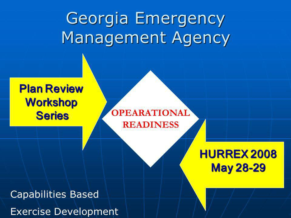 Georgia Emergency Management Agency Plan Review WorkshopSeries HURREX 2008 May 28-29 OPEARATIONAL READINESS Capabilities Based Exercise Development