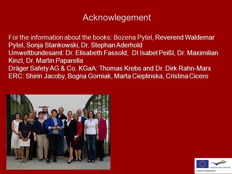 Acknowlegement For the information about the books: Bozena Pytel, Reverend Waldemar Pytel, Sonja Stankowski, Dr. Stephan Aderhold Umweltbundesamt: Dr.