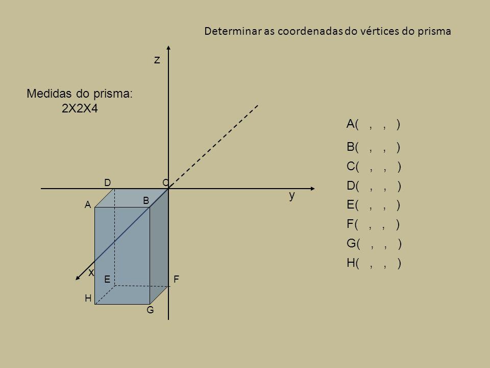 A(,, ) B(,, ) C(,, ) D(,, ) E(,, ) F(,, ) G(,, ) H(,, ) Determinar as coordenadas do vértices do prisma x y z Medidas do prisma: 2X2X4 A B CD EF G H Centro da base do prisma na origem do referencial