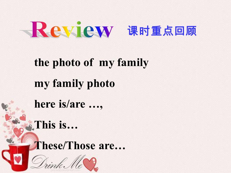 课时重点回顾 the photo of my family my family photo here is/are …, This is… These/Those are…
