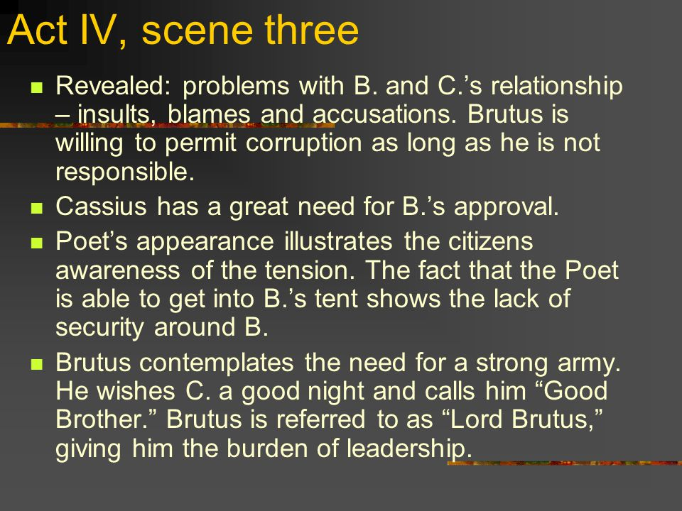 Act IV, scene three Revealed: problems with B.