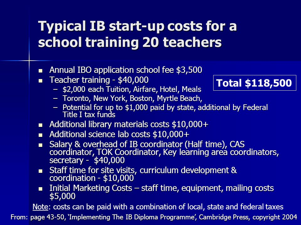 Typical IB start-up costs for a school training 20 teachers Annual IBO application school fee $3,500 Annual IBO application school fee $3,500 Teacher training - $40,000 Teacher training - $40,000 –$2,000 each Tuition, Airfare, Hotel, Meals –Toronto, New York, Boston, Myrtle Beach, –Potential for up to $1,000 paid by state, additional by Federal Title I tax funds Additional library materials costs $10,000+ Additional library materials costs $10,000+ Additional science lab costs $10,000+ Additional science lab costs $10,000+ Salary & overhead of IB coordinator (Half time), CAS coordinator, TOK Coordinator, Key learning area coordinators, secretary - $40,000 Salary & overhead of IB coordinator (Half time), CAS coordinator, TOK Coordinator, Key learning area coordinators, secretary - $40,000 Staff time for site visits, curriculum development & coordination - $10,000 Staff time for site visits, curriculum development & coordination - $10,000 Initial Marketing Costs – staff time, equipment, mailing costs $5,000 Initial Marketing Costs – staff time, equipment, mailing costs $5,000 From: page 43-50, 'Implementing The IB Diploma Programme', Cambridge Press, copyright 2004 Total $118,500 Note: costs can be paid with a combination of local, state and federal taxes