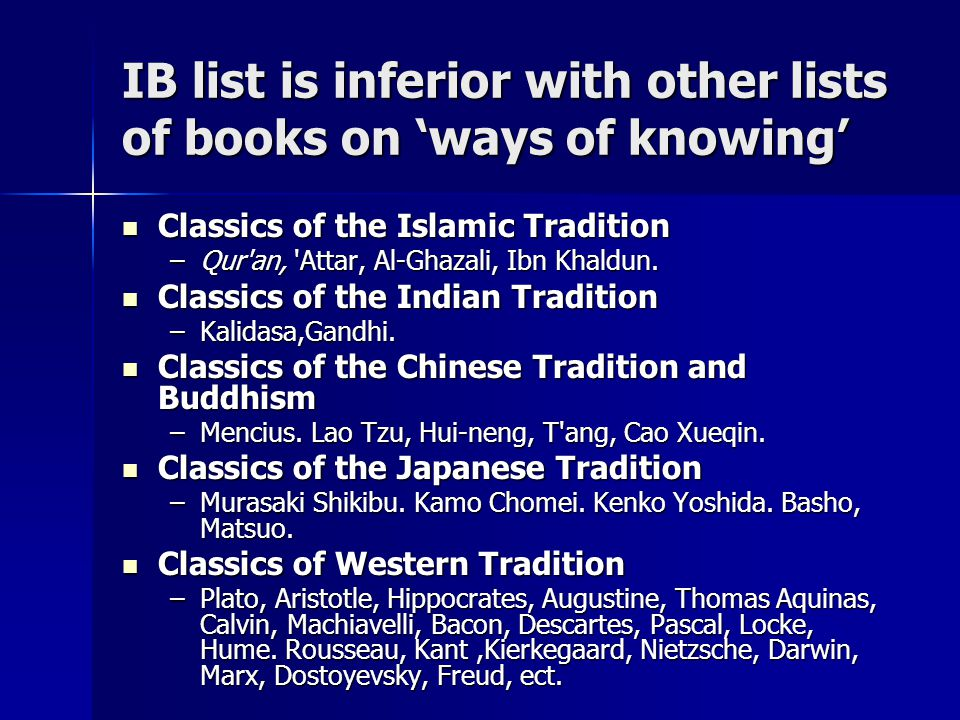 IB list is inferior with other lists of books on 'ways of knowing' Classics of the Islamic Tradition Classics of the Islamic Tradition –Qur an, Attar, Al-Ghazali, Ibn Khaldun.