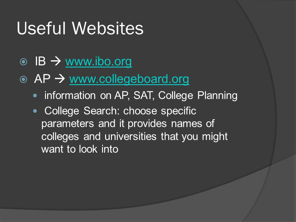 Useful Websites  IB  www.ibo.orgwww.ibo.org  AP  www.collegeboard.orgwww.collegeboard.org information on AP, SAT, College Planning College Search: