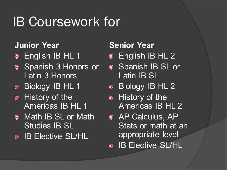 Additional IB Requirements Theory of Knowledge (TOK) – 2 nd semester junior year and 1 st semester senior year [7 th /8 th period/1 day per week] Extended Essay CAS (Creativity, Action, Service)