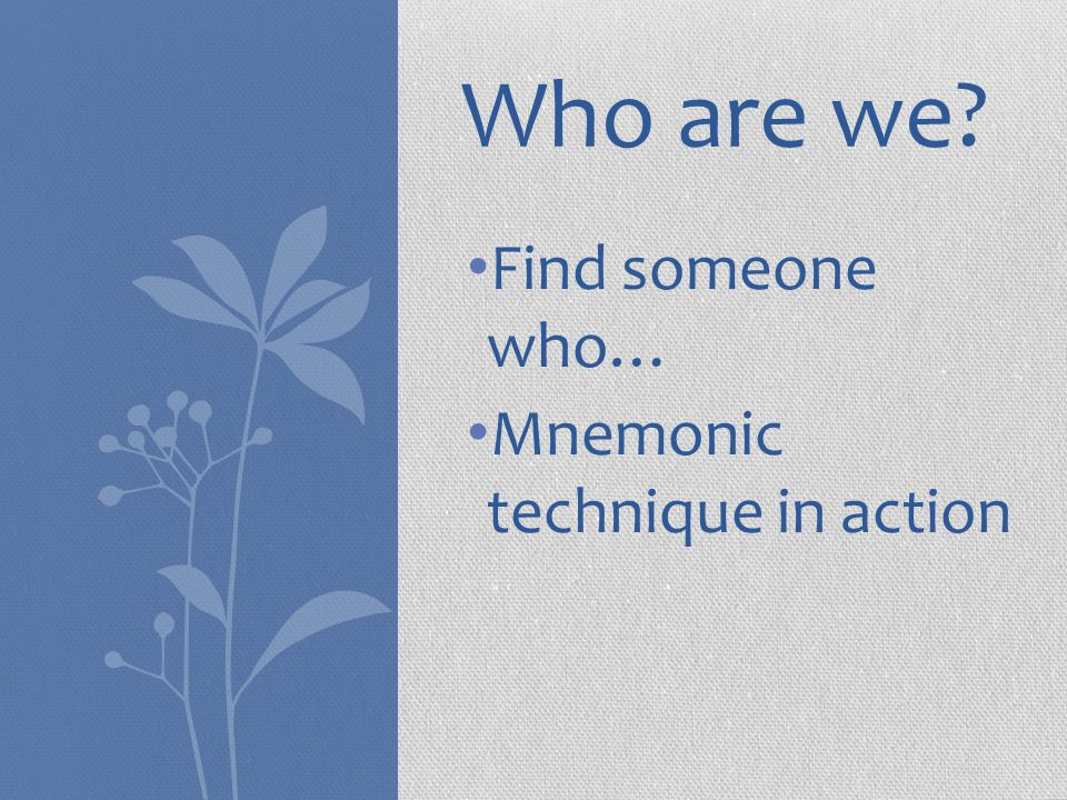 Who are we? Find someone who… Mnemonic technique in action