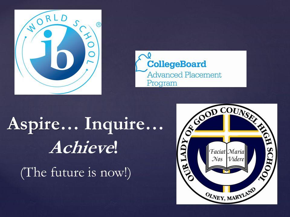 Aspire Aspire… Inquire… Achieve! (The future is now!)