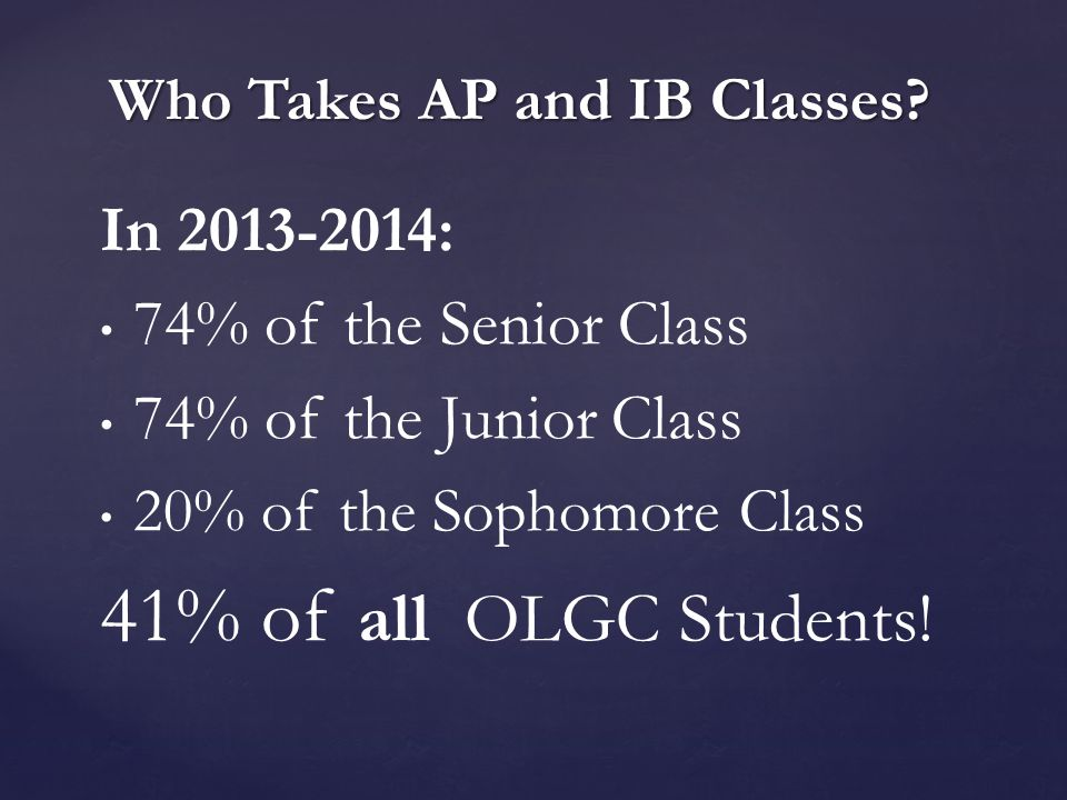 In 2013-2014: 74% of the Senior Class 74% of the Junior Class 20% of the Sophomore Class 41% of all OLGC Students.
