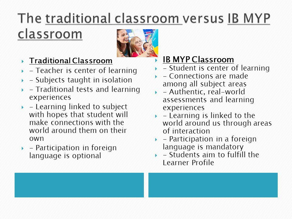  Traditional Classroom  - Teacher is center of learning  - Subjects taught in isolation  - Traditional tests and learning experiences  - Learning