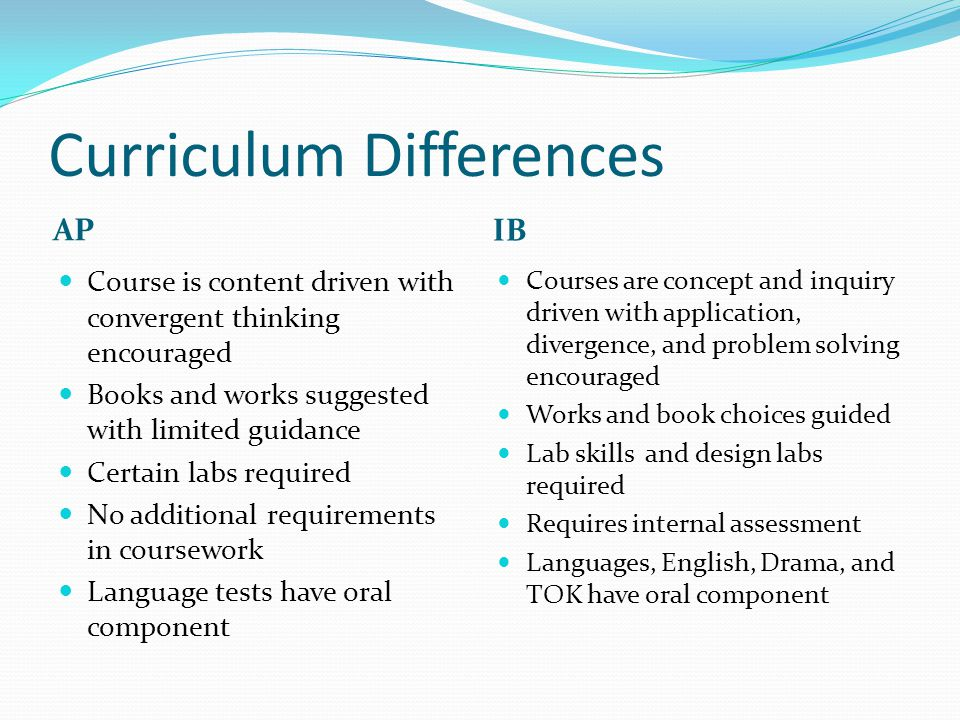 Curriculum Differences AP IB Course is content driven with convergent thinking encouraged Books and works suggested with limited guidance Certain labs required No additional requirements in coursework Language tests have oral component Courses are concept and inquiry driven with application, divergence, and problem solving encouraged Works and book choices guided Lab skills and design labs required Requires internal assessment Languages, English, Drama, and TOK have oral component