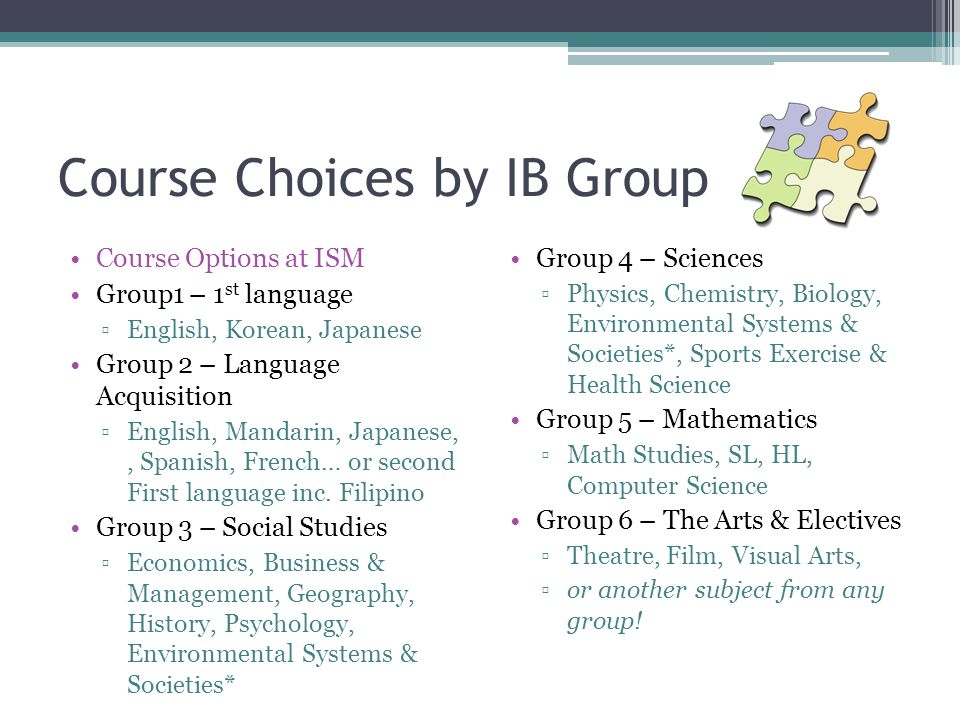 Course Choices by IB Group Group 4 – Sciences ▫Physics, Chemistry, Biology, Environmental Systems & Societies*, Sports Exercise & Health Science Group