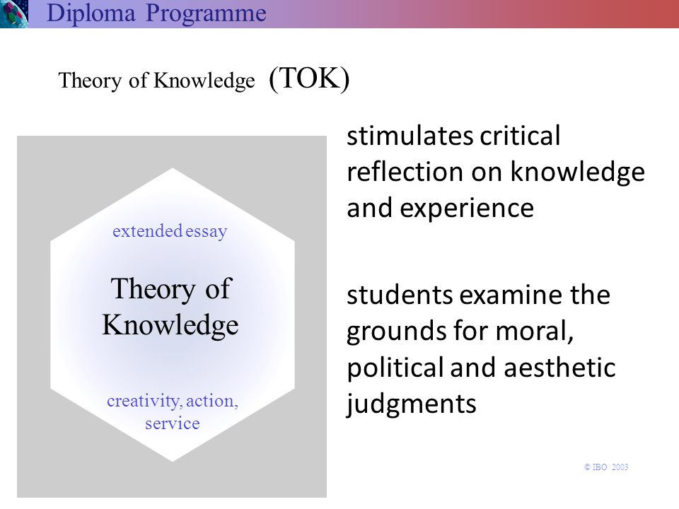 stimulates critical reflection on knowledge and experience students examine the grounds for moral, political and aesthetic judgments Theory of Knowled