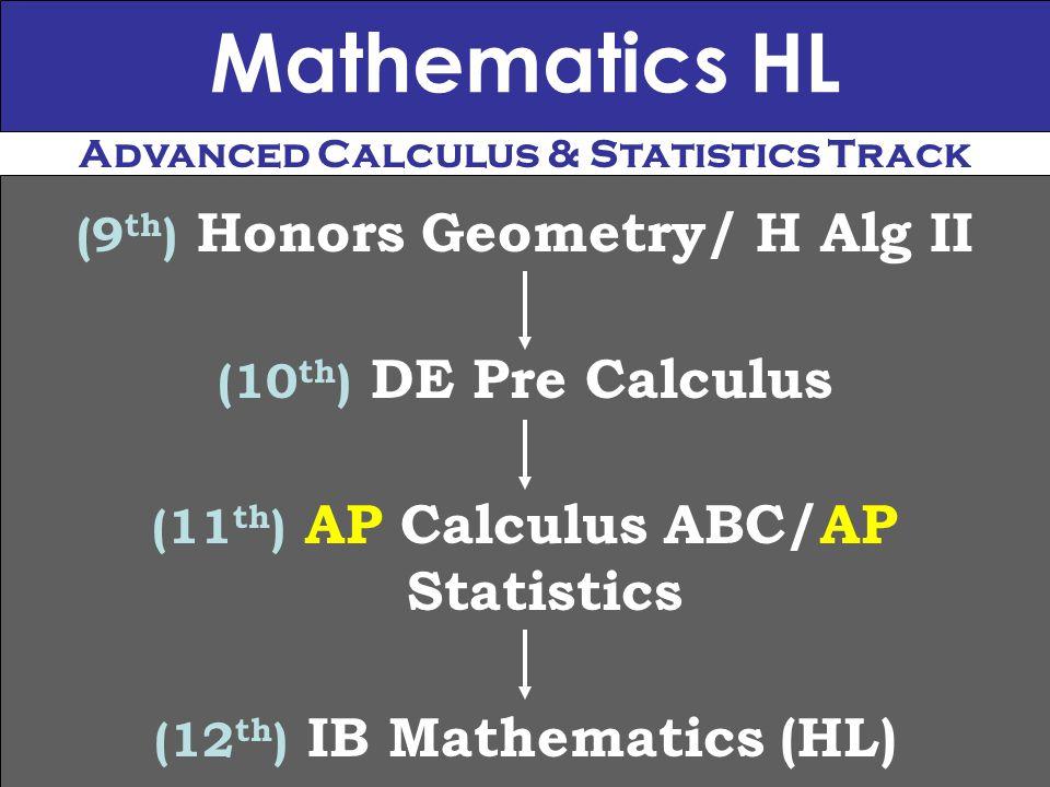 Mathematics HL (9 th ) Honors Geometry/ H Alg II (10 th ) DE Pre Calculus (11 th ) AP Calculus ABC/AP Statistics (12 th ) IB Mathematics (HL) Advanced Calculus & Statistics Track