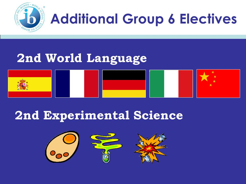 Additional Group 6 Electives 2nd Experimental Science 2nd World Language