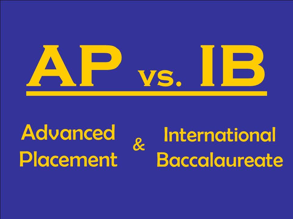 AP vs. IB Advanced Placement International Baccalaureate &