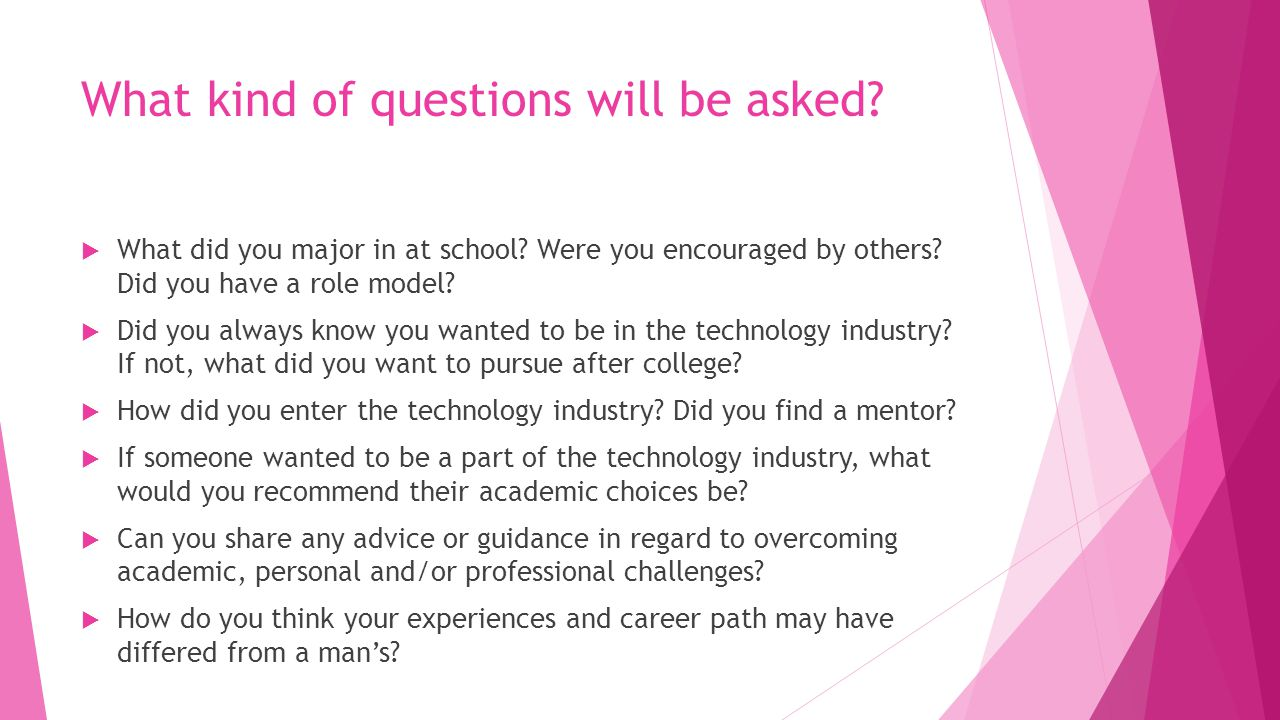 What kind of questions will be asked?  What did you major in at school? Were you encouraged by others? Did you have a role model?  Did you always kn