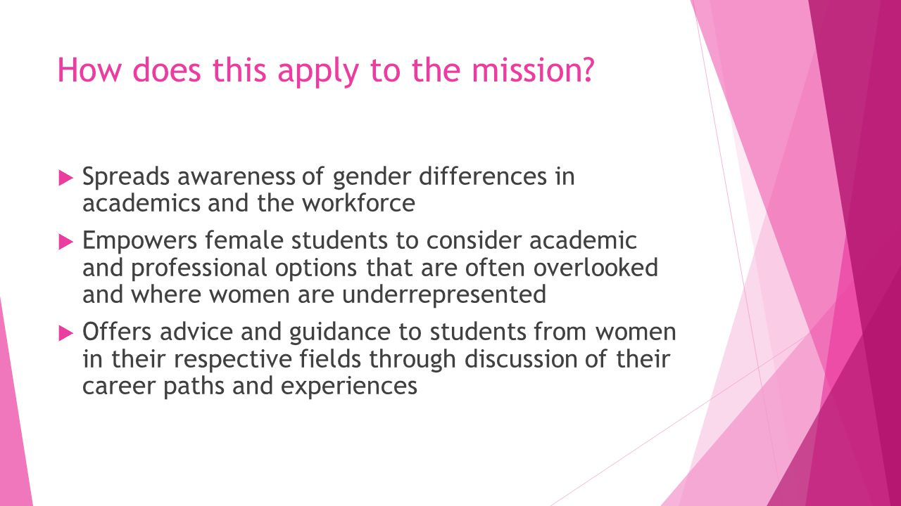 How does this apply to the mission?  Spreads awareness of gender differences in academics and the workforce  Empowers female students to consider ac