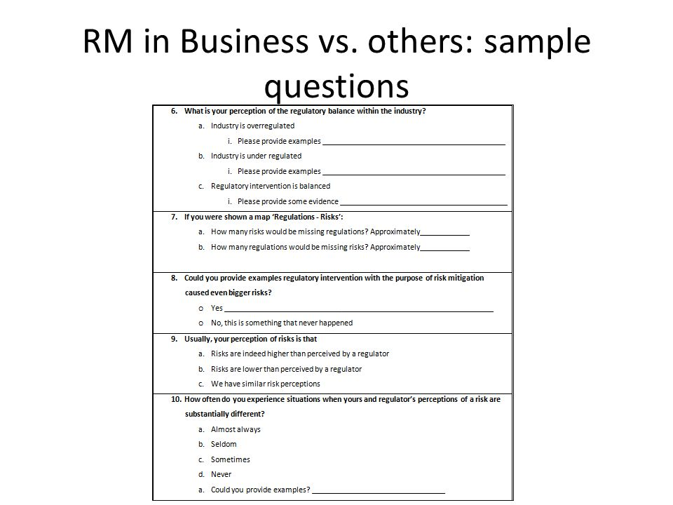 RM in Business vs. others: sample questions