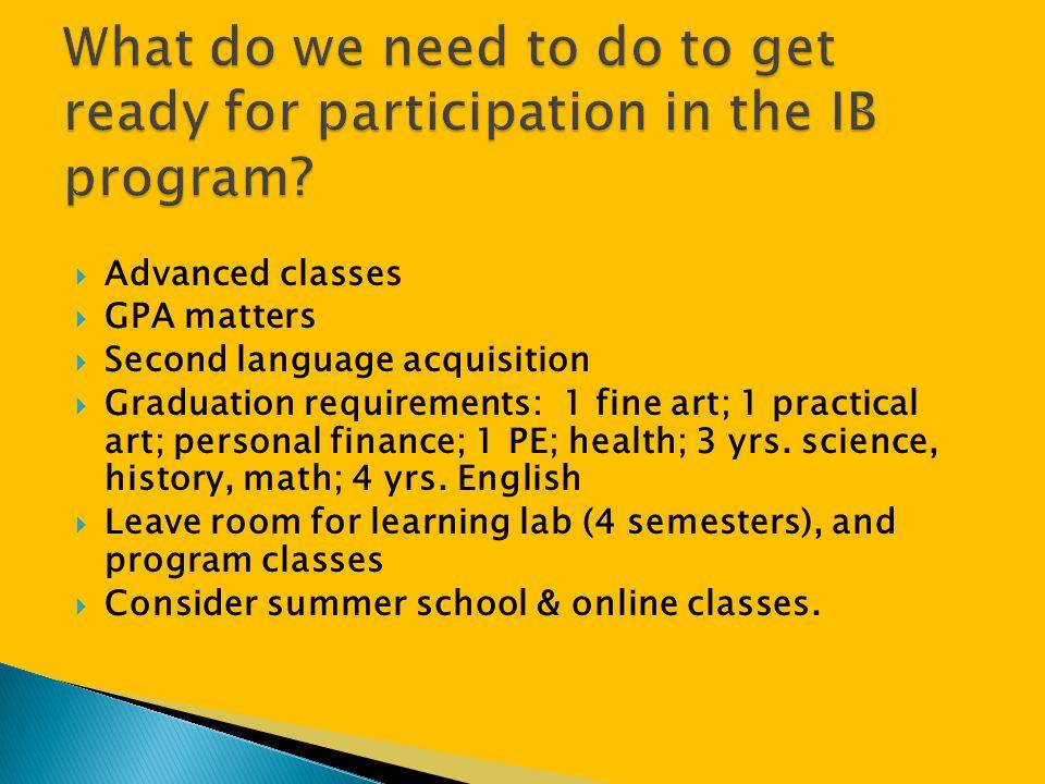  Advanced classes  GPA matters  Second language acquisition  Graduation requirements: 1 fine art; 1 practical art; personal finance; 1 PE; health;