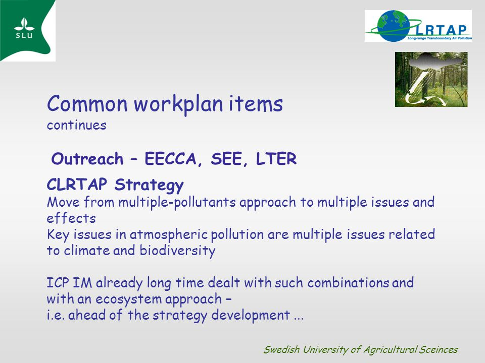 Common workplan items continues Outreach – EECCA, SEE, LTER CLRTAP Strategy Move from multiple-pollutants approach to multiple issues and effects Key