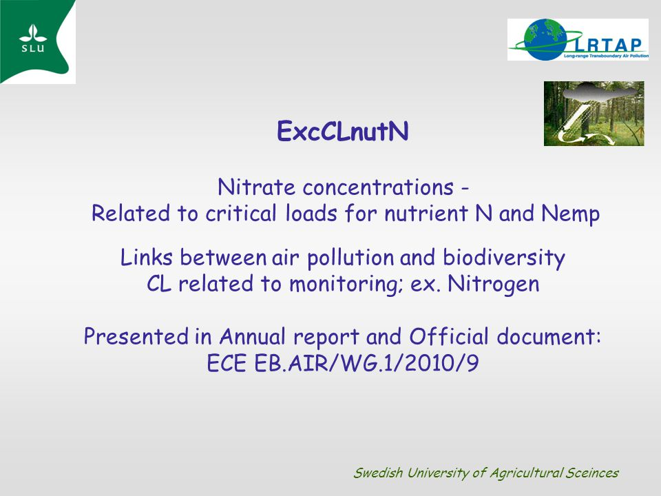 ExcCLnutN Nitrate concentrations - Related to critical loads for nutrient N and Nemp Links between air pollution and biodiversity CL related to monito