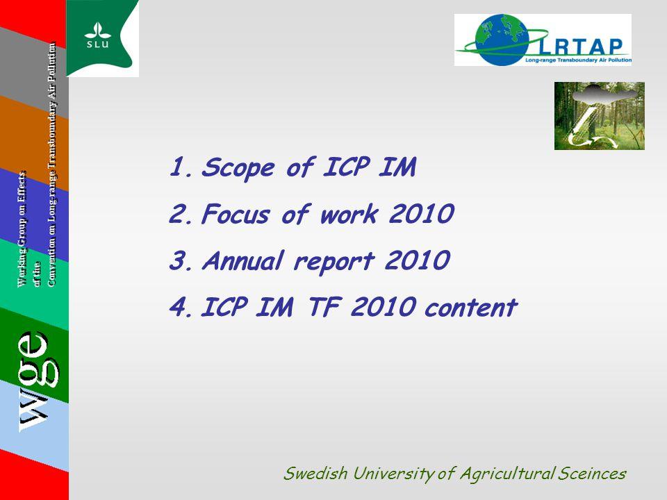 1.Scope of ICP IM 2.Focus of work 2010 3.Annual report 2010 4.ICP IM TF 2010 content