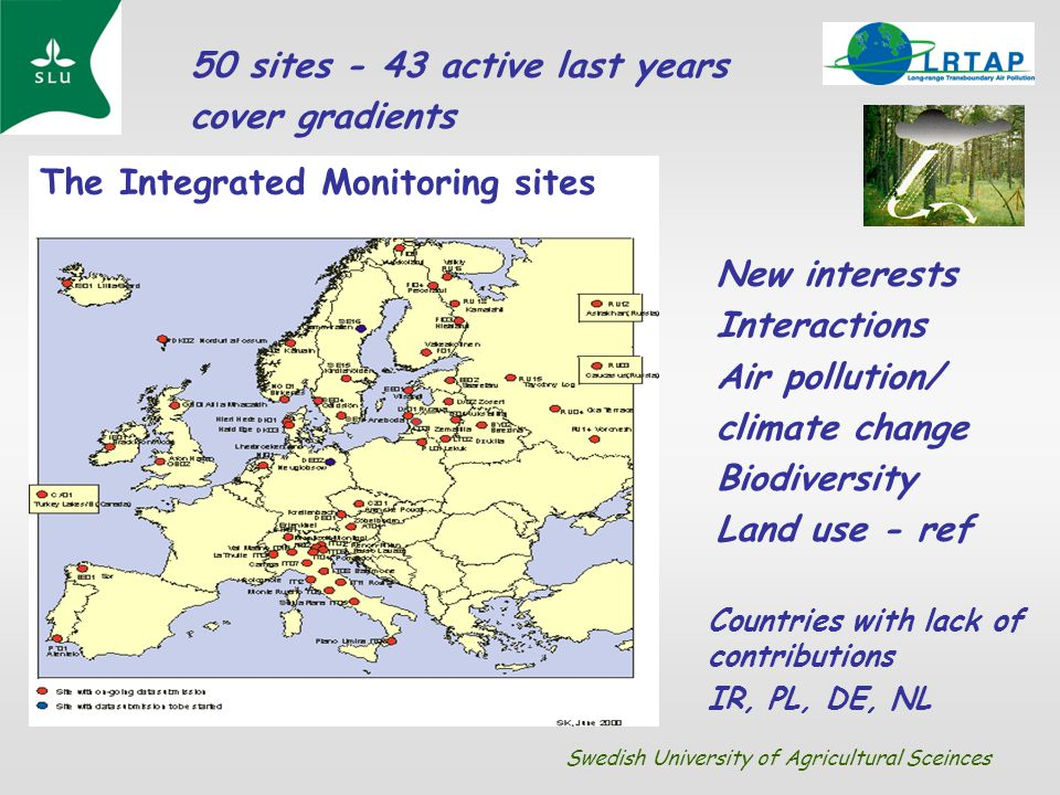 New interests Interactions Air pollution/ climate change Biodiversity Land use - ref The Integrated Monitoring sites Countries with lack of contributi