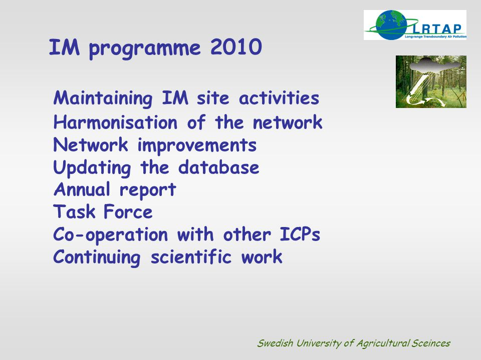 Maintaining IM site activities Harmonisation of the network Network improvements Updating the database Annual report Task Force Co-operation with othe