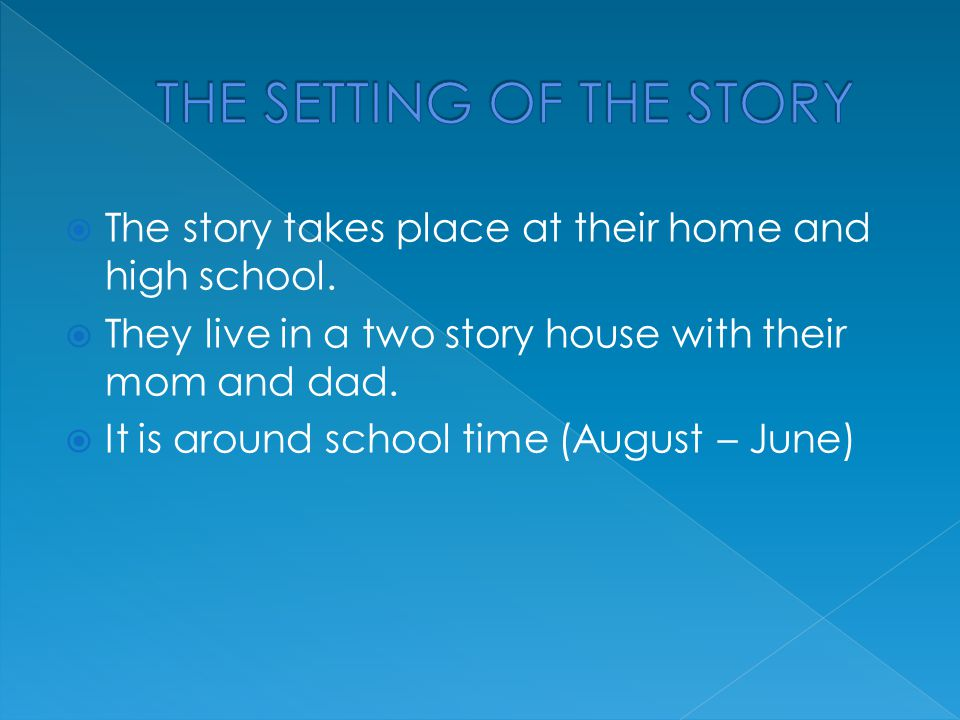  The story takes place at their home and high school.