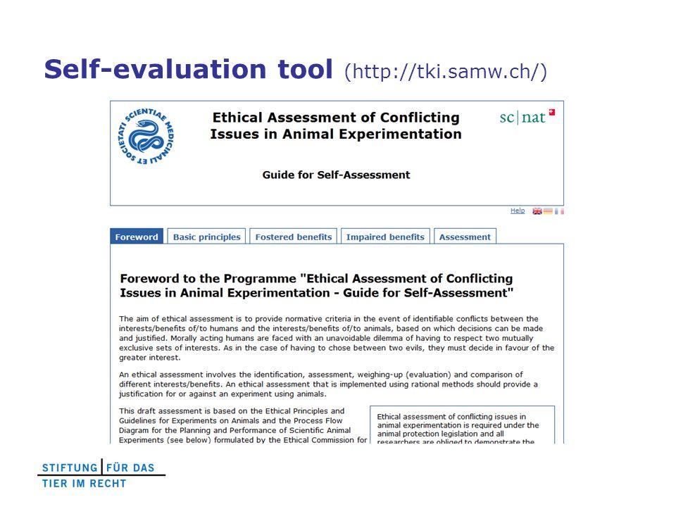 Self-evaluation tool (http://tki.samw.ch/)