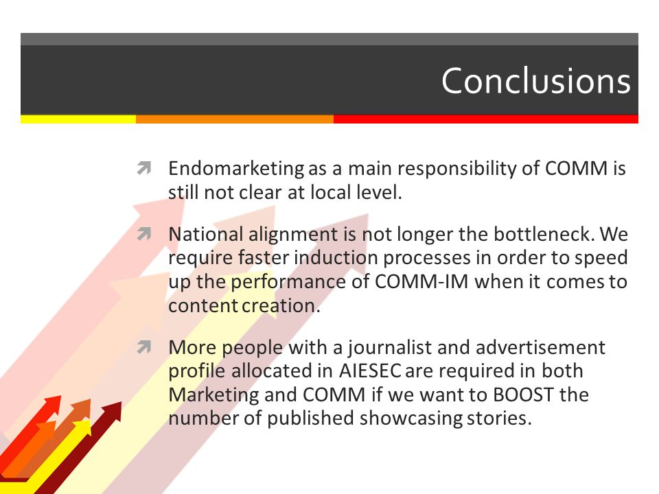 Conclusions  Endomarketing as a main responsibility of COMM is still not clear at local level.