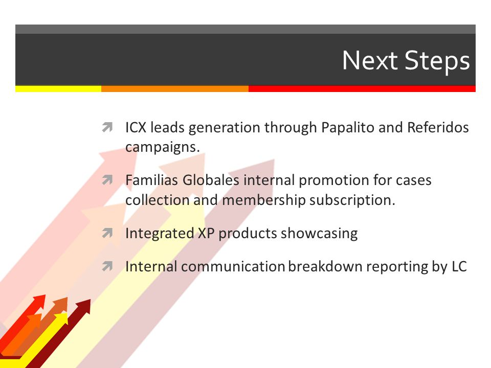 Next Steps  ICX leads generation through Papalito and Referidos campaigns.
