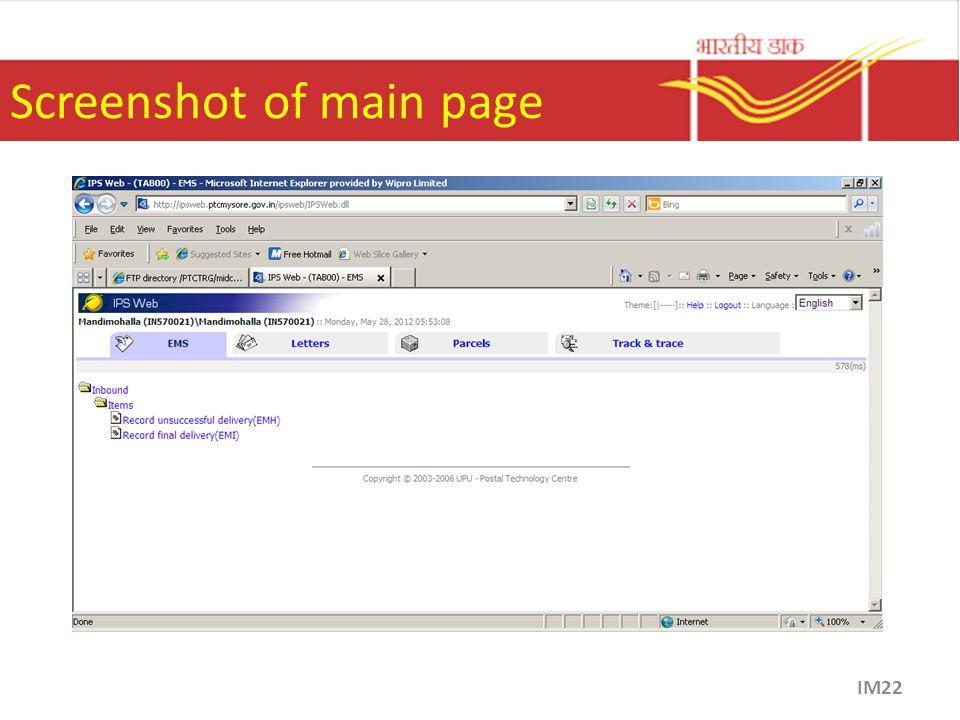 Screenshot of main page IM22