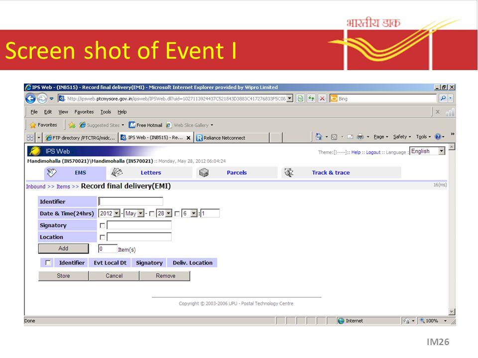 Screen shot of Event I IM26