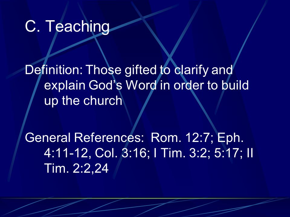 B.Prophecy Definition: Those who spoke under the inspiration of the Holy Spirit, bringing a message from God to the church, and whose main motivation and concern were with the spiritual life and purity of the church General References: Rom.