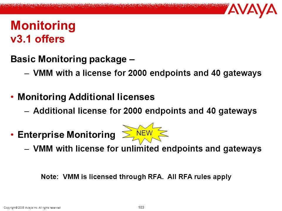Copyright© 2005 Avaya Inc. All rights reserved 103 Monitoring v3.1 offers Basic Monitoring package – –VMM with a license for 2000 endpoints and 40 gat